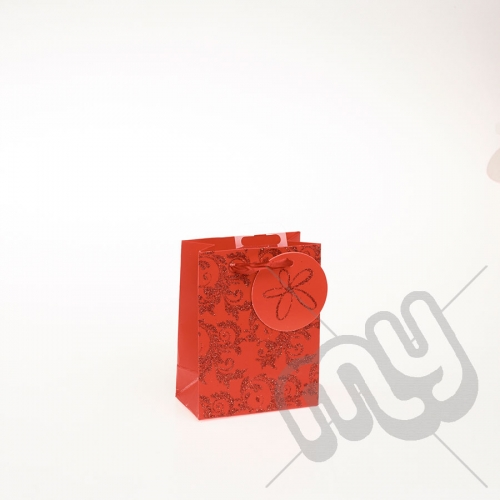 Luxury Red Glitter Paper Gift Bag - Small x 1pc