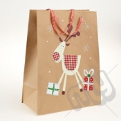 Cute Snowman Kraft Paper Christmas Gift Bag with Glitter Detail - Large x 1pc