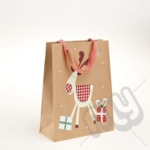Cute Snowman Kraft Paper Christmas Gift Bag with Glitter Detail - Medium x 1pc