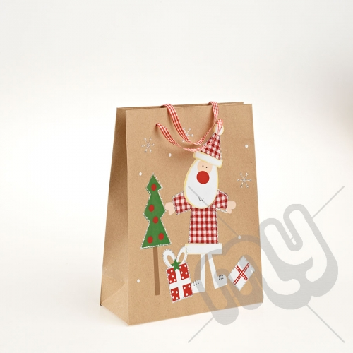 Santa Clause Kraft Paper Christmas Gift Bag with Glitter Detail - Medium x 1pc