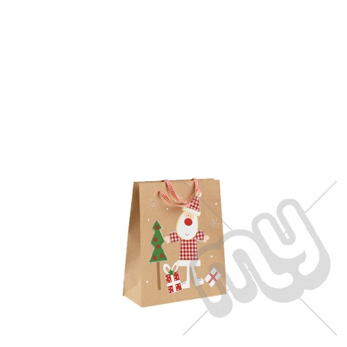 Santa Clause Kraft Paper Christmas Gift Bag with Glitter Detail - Small x 1pc