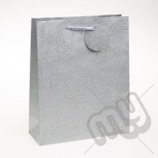 Luxury Silver Glitter Paper Gift Bag - Large x 1pc