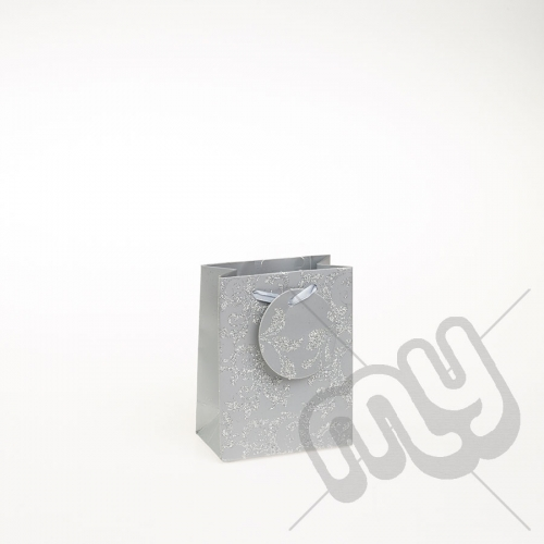 Luxury Silver Glitter Paper Gift Bag - Small x 1pc