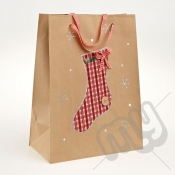 Stocking Kraft Paper Christmas Gift Bag with Glitter Detail - Large x 1pc