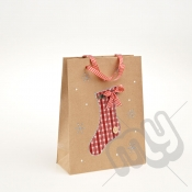 Stocking Kraft Paper Christmas Gift Bag with Glitter Detail - Medium x 1pc