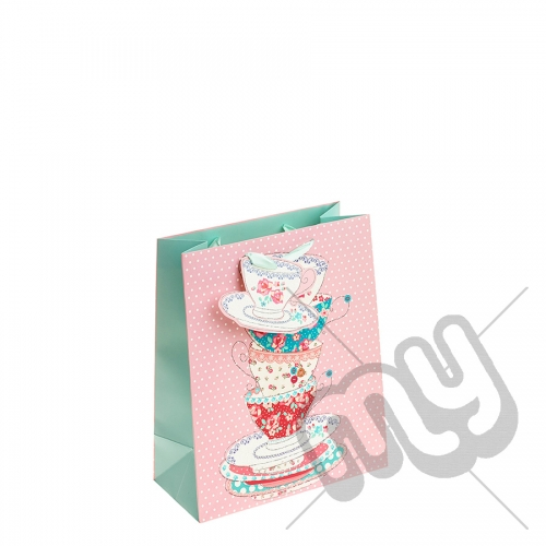 Vintage Tea Cups with Glitter Detail - Medium x 1pc
