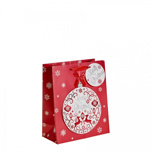 Glitter Bauble and Reindeer Christmas Gift Bag – Medium x 1pc
