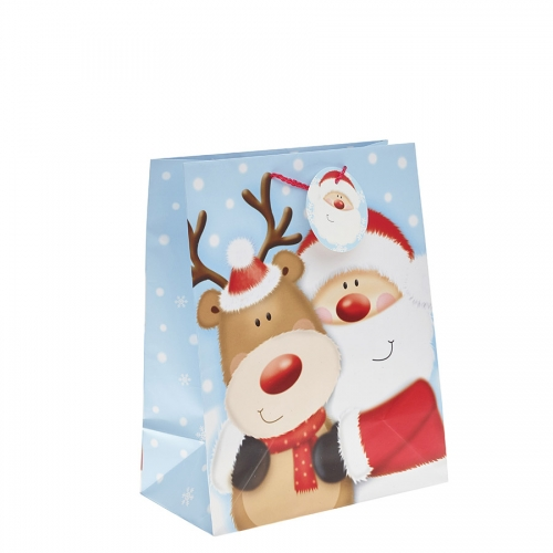 Santa Clause & His Reindeer Christmas Gift Bag – Large x 1pc