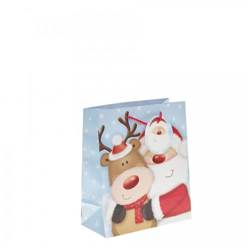 Santa Clause & His Reindeer Christmas Gift Bag – Medium x 1pc