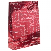 Red Metallic Happy Christmas Gift Bag – Extra Large x 1pc