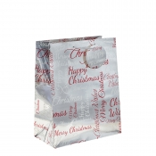 Silver Metallic Happy Christmas Gift Bag – Large x 1pc
