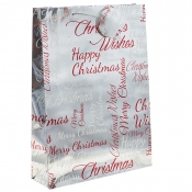 Silver Metallic Happy Christmas Gift Bag – Extra Large x 1pc