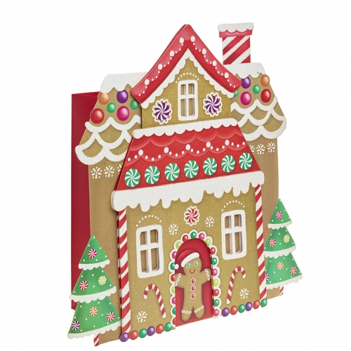Ginger Bread Cut Out Christmas Gift Bag – Large x 1pc