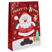 Red Glitter Merry Christmas & Santa Gift Bag – Extra Large x 1pc