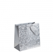 Crushed Silver Glitter Square Gift Bag – Large x 1pc