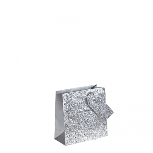 Crushed Silver Glitter Square Gift Bag – Medium x 1pc