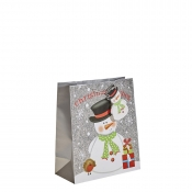 Silver Glitter Merry Christmas & Santa Gift Bag – Medium x 1pc