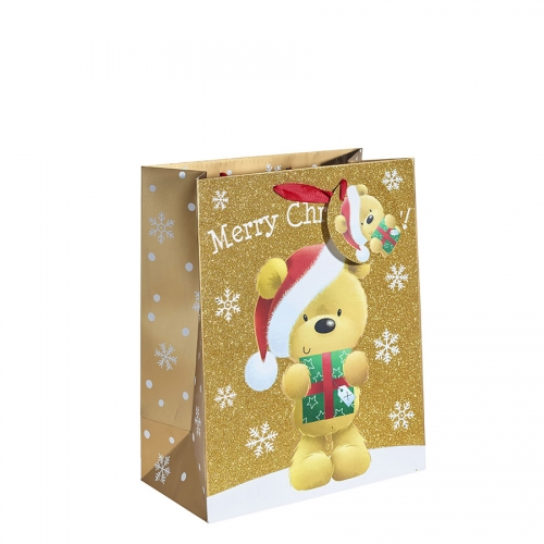 Gold Glitter Merry Christmas & Santa Gift Bag – Large x 1pc