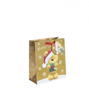 Gold Glitter Merry Christmas & Santa Gift Bag – Medium x 1pc