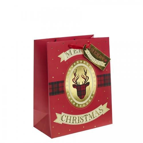 Tartan Reindeer Christmas Gift Bag – Large x 1pc