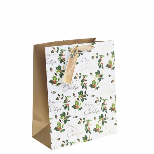 Golden Merry Christmas & Holly Christmas Gift Bag – Large x 1pc