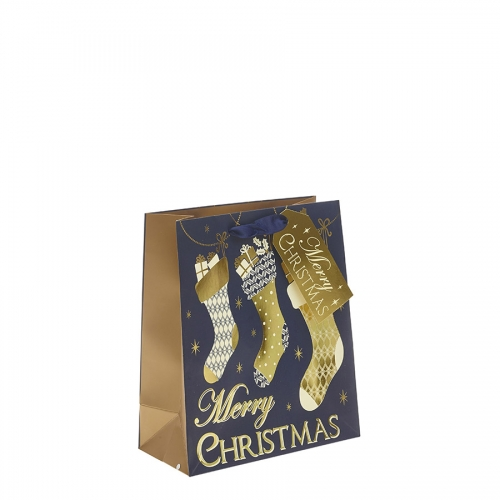 Gold & Navy Blue Classic Merry Christmas & Stocking Christmas Gift Bag – Medium x 1pc