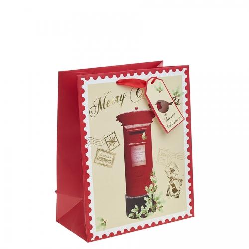 Red Post Box Christmas Gift Bag – Large x 1pc
