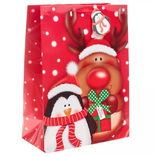Rudolph the Red Nosed Reindeer and Penguin Christmas Gift Bag - Jumbo