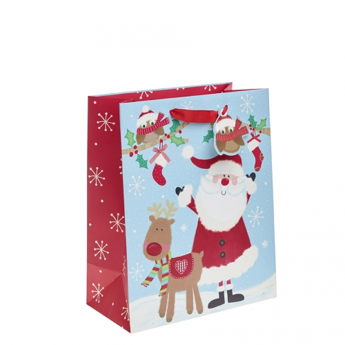Cartoon Santa and Reindeer Christmas Gift Bag – Large x 1pc