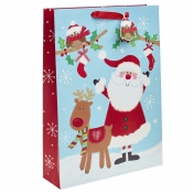 Cartoon Santa and Reindeer Christmas Gift Bag – Extra Large x 1pc