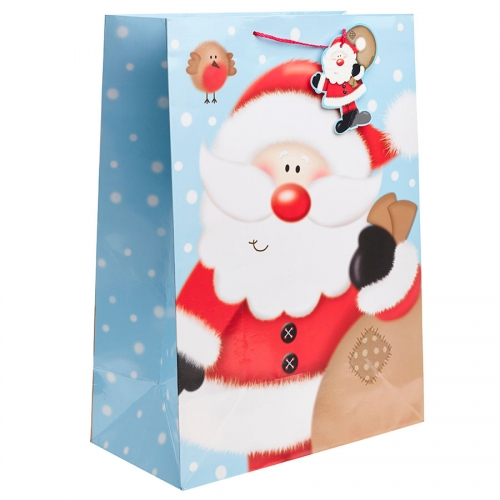 Cute Santa Ready to Deliver his Presents Christmas Gift Bag - Jumbo