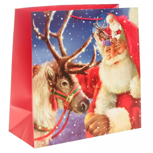 Santa Clause Delivering Present on Christmas Eve Gift Bag - Jumbo Square