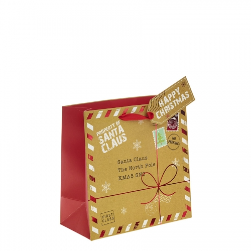 A Present for Santa Square Christmas Gift Bag – Medium x 1pc