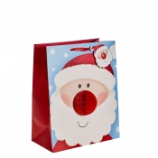 Cute Santa with a 3D Nose Christmas Gift Bag – Large x 1pc