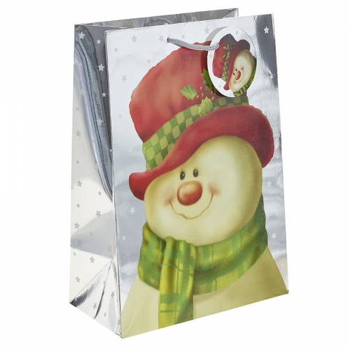 Silver Metallic Classic Snowman Christmas Gift Bag – Extra Large x 1pc