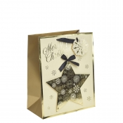 Golden Star Christmas Gift Bag – Large x 1pc