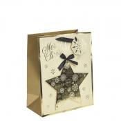 Golden Star Christmas Gift Bag – Large x 1pc