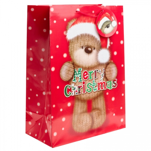 Merry Christmas from a Cute Knitted Teddy Christmas Gift Bag - Jumbo