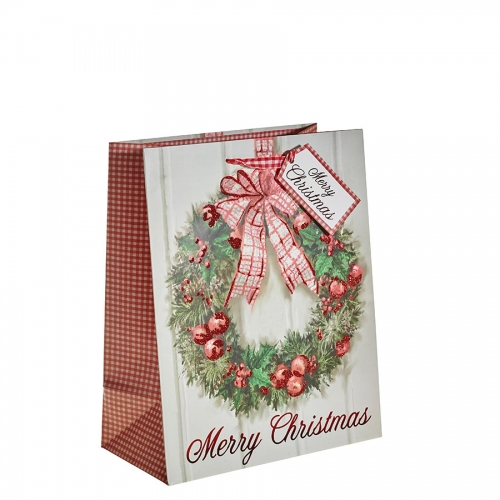 Classic Christmas Wreath & Glitter Bauble Gift Bag – Large x 1pc