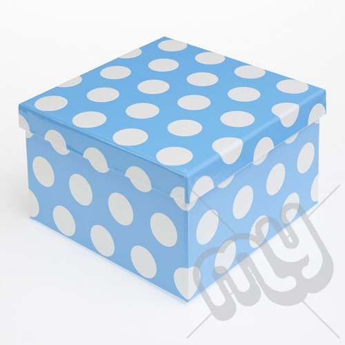 Blue Polka Dot Glitter Luxury Gift Box - SIZE 2