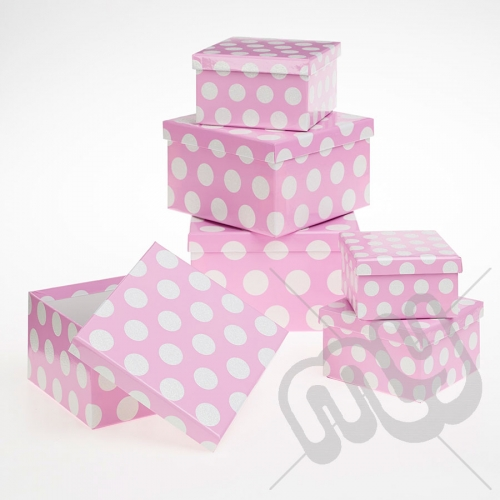Pink Polka Dot Glitter Luxury Gift Boxes - Set of 6