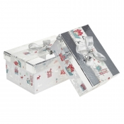 A Magical Silver Rectangular Christmas Gift Boxes – Set of 2