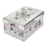 A Magical Silver Rectangular Christmas Gift Box – Large