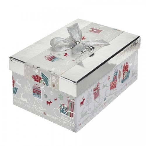 A Magical Silver Rectangular Christmas Gift Box – Large