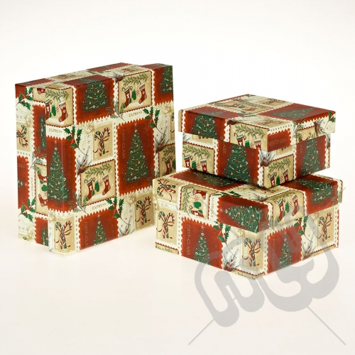 Stockings & Stamps Rectangle Christmas Gift Boxes - Set of 3