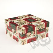 Stockings & Stamps Rectangle Christmas Gift Box - Large