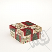 Stockings & Stamps Rectangle Christmas Gift Box - Small