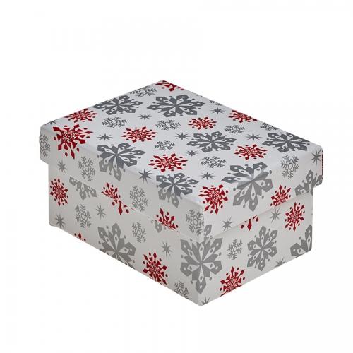 Modern Christmas Red and Silver Snowflake Christmas Gift Box – Small
