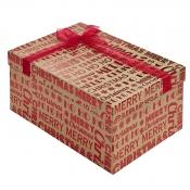 Merry Christmas Kraft Square Christmas Gift Box – Large