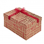 Merry Christmas Kraft Square Christmas Gift Box – Medium